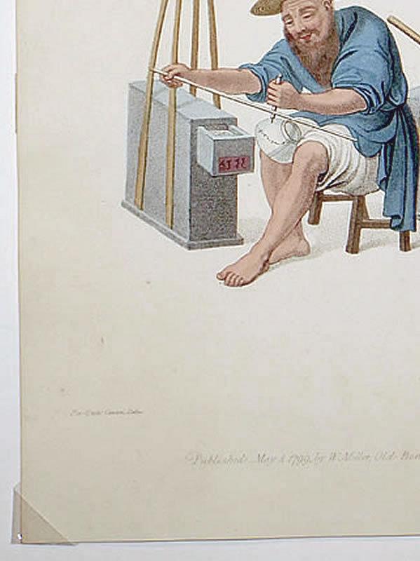 PORCELAIN MENDER Engraving Costume China 1800 Antique Print