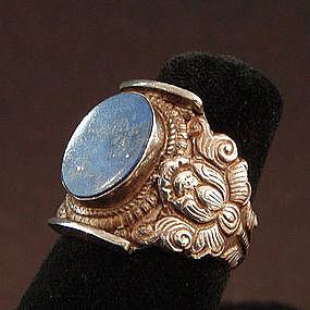 Vintage Mans Lapis Silver Ring with Lotus Motif