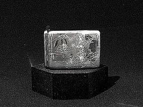 Vintage Japanese Sterling Silver Cigarette Card Case