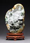 Burmese Jadeite Boulder with Guanyin and Qilin