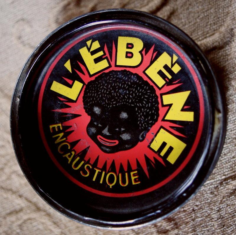Colorful 1950 French LEBENE Wax Tin Black Child Graphic