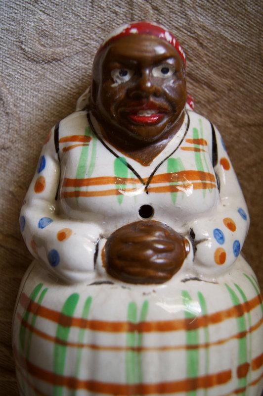 C1950 Black Memorabilia Mammy Polka Dot String Holder