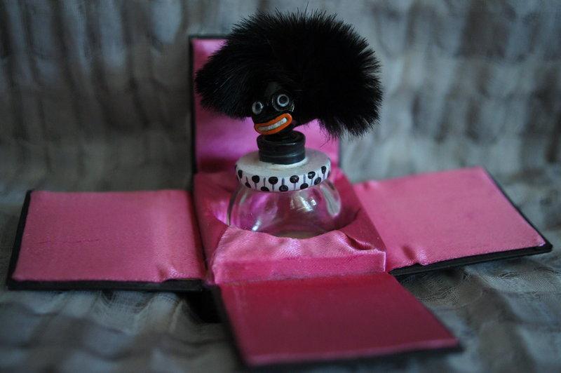 1920s VIGNY France Negro Golliwogg Perfume Bottle + Box
