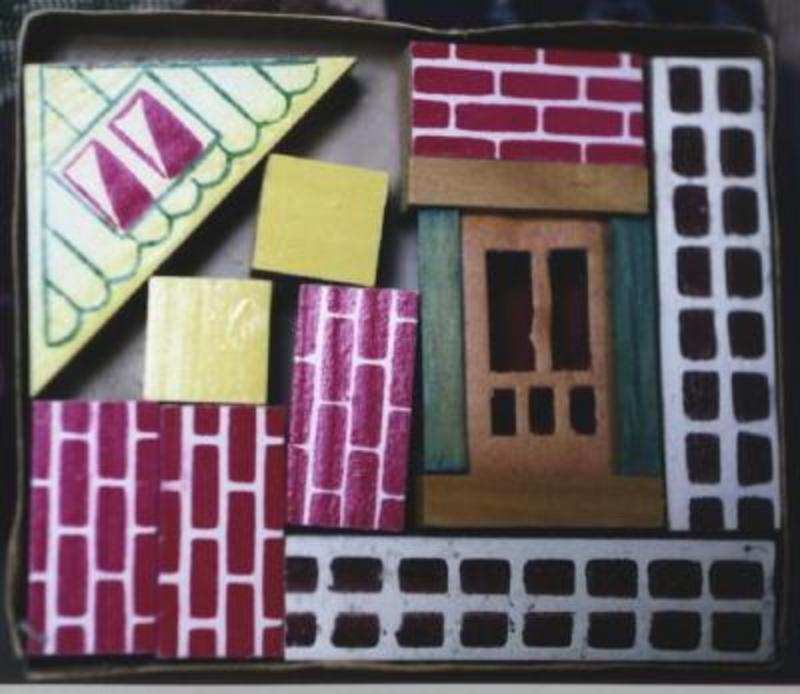 1950s Miniature Toy Wood Architectural Building Blocks