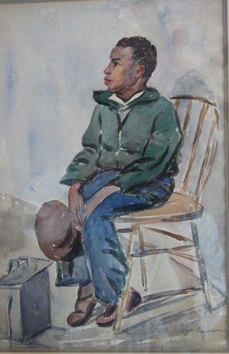1934 Listed Artist Olga Rosenson Original Watercolor Shoe Shine Boy