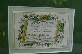 Lovely 19th Century Antique Framed School Merit Award