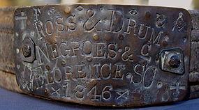 Fabulous RARE 1846 Florence South Carolina SLAVE COLLAR