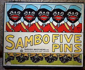 1921 Parker Bros SAMBO FIVE PINS Target Bowling Game