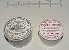 Two 19thC English Ceramic Tooth Paste Dental Containers Pot Lid