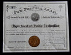 1892 San Francisco California School Teaching Diploma
