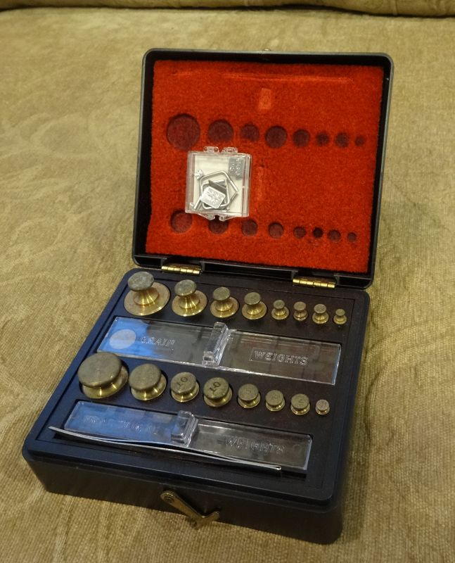 Two C1950-1960s Cased Weights Sets OHAUS Scale Pharmacy Apothecary