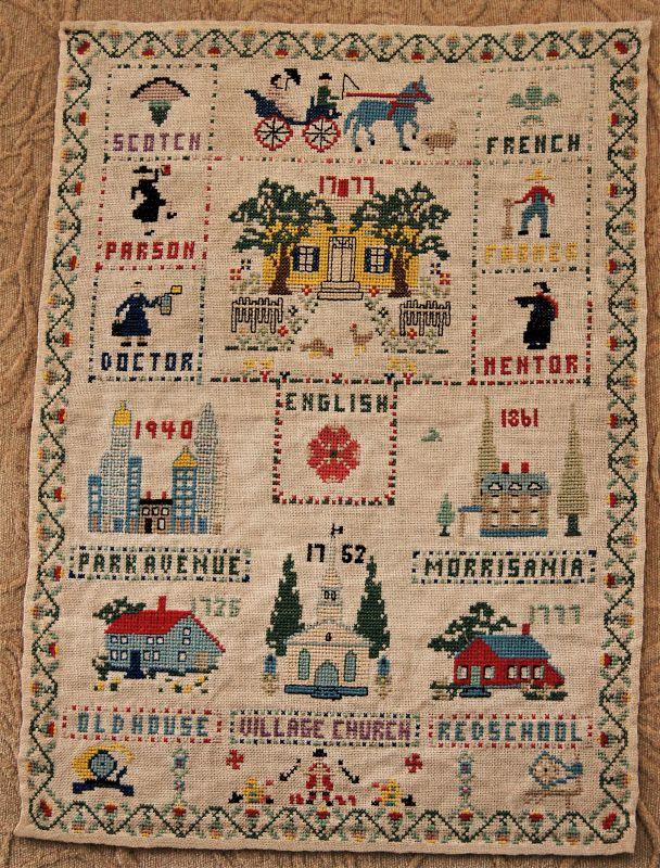 Lovely1940 Crosstitch Sampler New York City New Jersey Family History