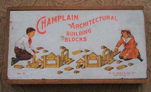 C1920s Burlington Vermont Champlain Architectural Wood Building Blocks