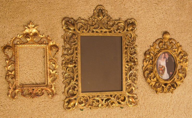 3Fab Vintage Victorian Very Ornate Brass Plated Photo Frames w Stands