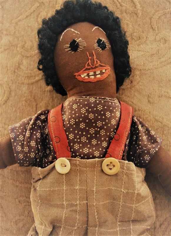 VintageLook Original Artisan Black Boy Cloth Doll By Maine Folk Artist