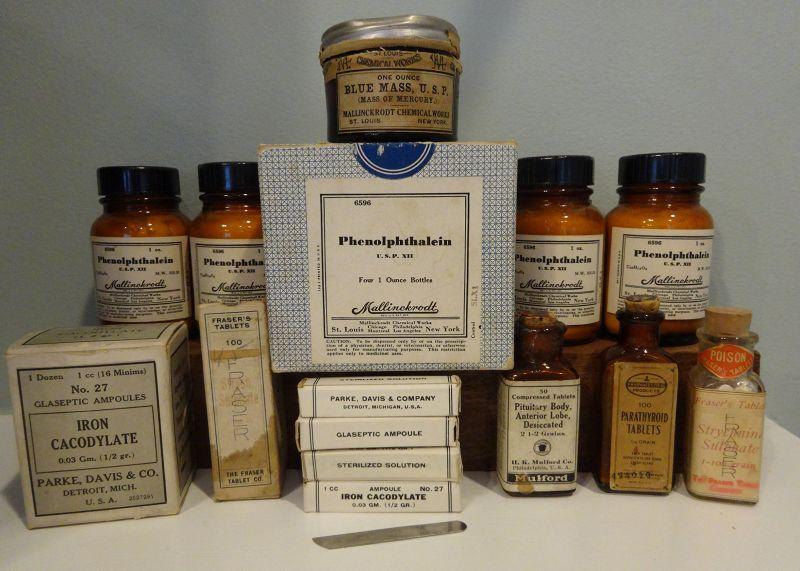 6 Pharmacy Patent Medicine Bottles Leukemia Cure Parke Davis Mulford