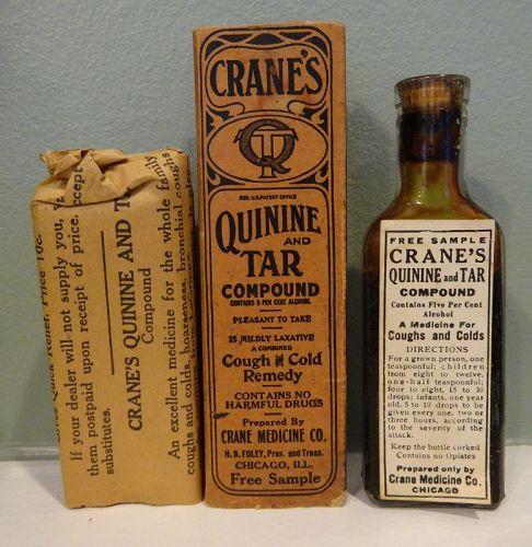 Vintage Cranes Cough + Cold Lung  Remedy w/ Quinine  - Patent Medicine