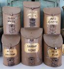 6 VerySCARCE 19thC Apothecary Tin Drug Canisters Wonderful Gold Labels