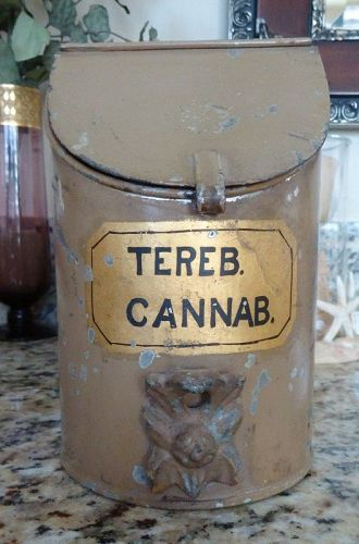 Scarce 19thC CANNABIS tin apothecary storage dispensary container