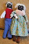 Sweet Black Americana Hand Made C1930s Apple Head Mammy n Pappy Dolls