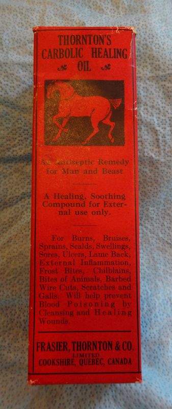 1940s Thortons Veterinary Carbolic Healing Oil for Man or Animal