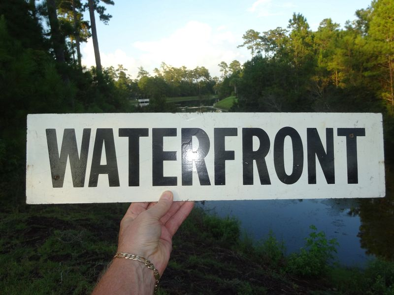 Nice 1950s 1960s Vintage Painted Wood Sign WATERFRONT Myrtle Beach