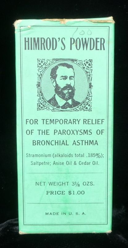 Great Asthma Remedy Medicine Bottle and Box HIMRODS POWDER