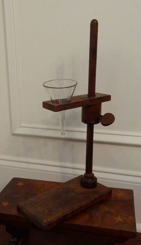 Scarce 1870s Victorian Laboratory Funnel Stand Adjustable Wooden