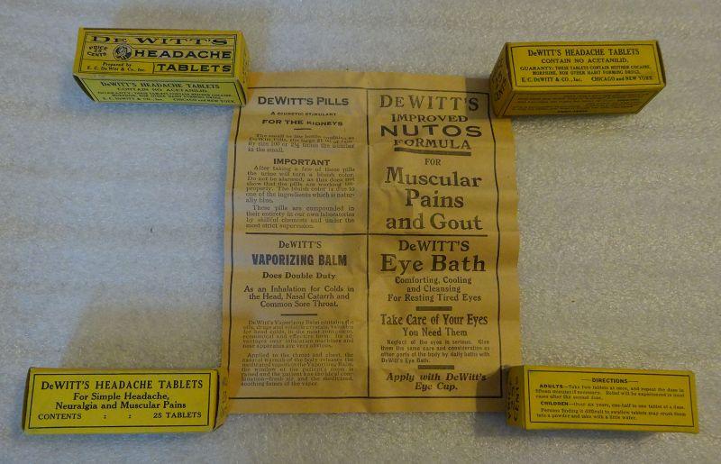 Scarce C1930s Dewitts Headache Tablets Pharmacy Drugstore Display