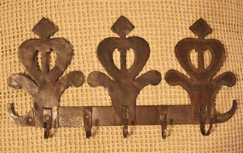 Late 19thC Stylized Heart Flower Handcut Iron Utensil or Clothing Rack