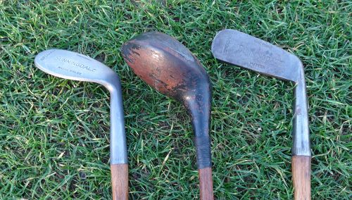 3 UK Golf Clubs Sunningdale Hickory Driver Mashie Niblic and Putter