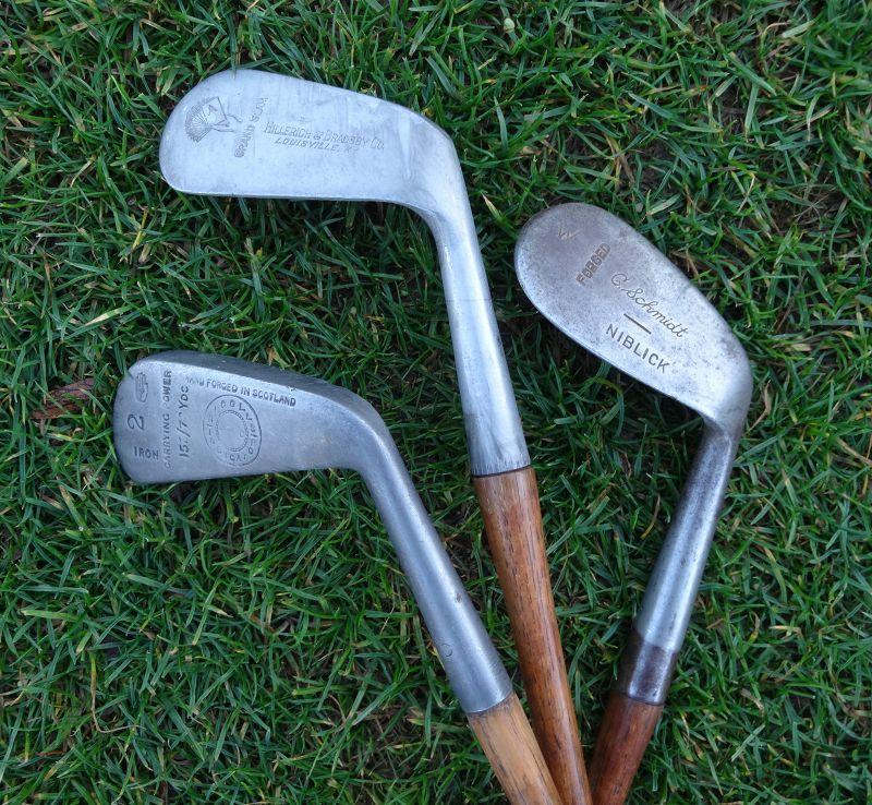 3 Golf Clubs Hickory Forged Nicolls Scotland Hillerick Schmidt  1920s