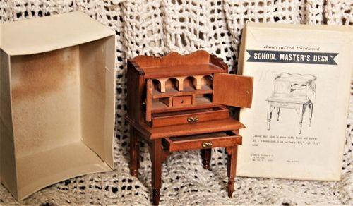 C1960s Mini Replica of 19thC Antique School Master's Desk Handcrafted