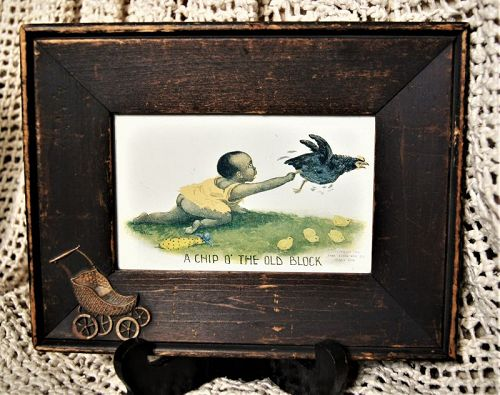 1906 Lithograph African American Toddler with Chicken Uniquely Framed
