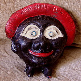 1930s Cast Iron Black Man SAVE AND SMILE Money Bank
