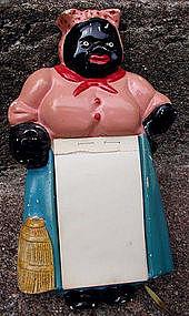 1940s Chalkware Black Mammy Memo Paper Holder