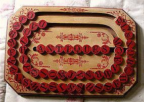 Exquisite 1886 Patent Date Wooden School ABC Alphabet Spelling Board
