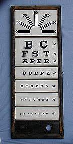 Vintage Framed Milk Glass Vision Eye Test Exam Chart