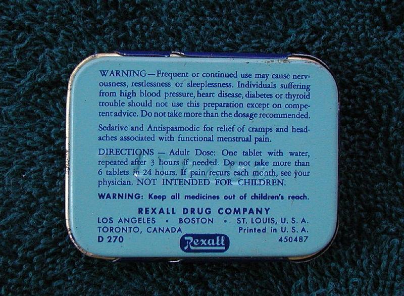 Female SEDETS Pain Pills Old Drug Store Pharmacy Tin