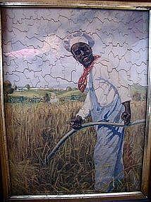 1907 Very Scarce Rastus Cream of Wheat Black Memorabilia Framed Puzzle