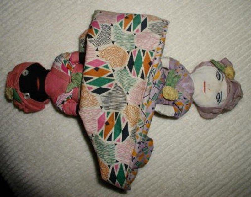 Exquisite 1930s Cloth Folk Art Black Memorabilia Topsy Turvy Doll