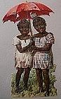 1900s Black Memorabilia Advertising DieCut 2 Young Girls with Umbrella