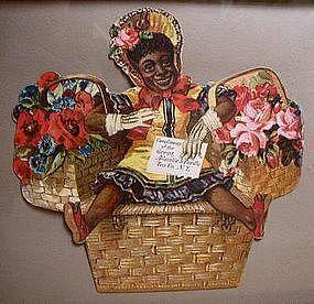 1930 A&P Grocery Store Black Girl in Basket Advertising Diecut