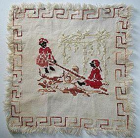 19C Folk Art Needlework Cross Stitch Sampler 2 Black Girls on SeeSaw