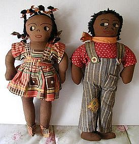 1940s BoyGirl Black Cloth Dolls HandMade Asheville North Carolina