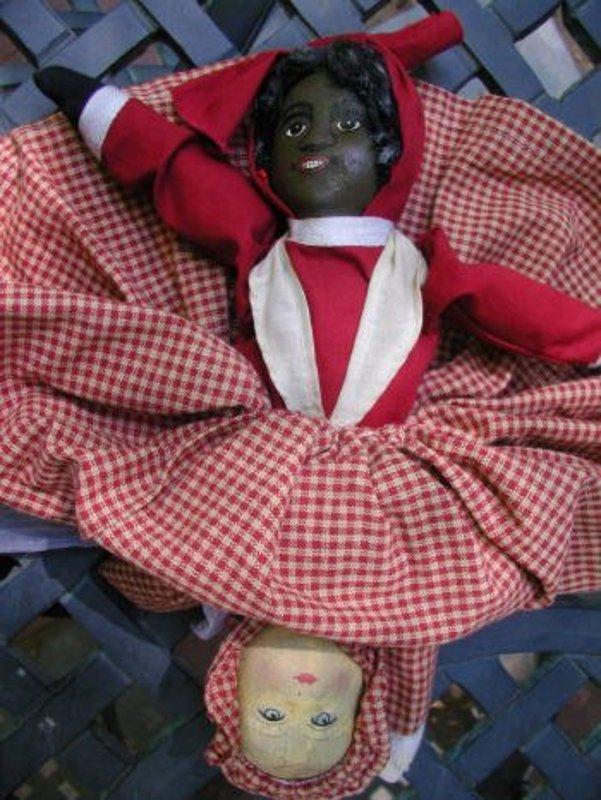 Wonderful 1901 Patent Albert Bruckner Black/White Topsy Turvy Doll