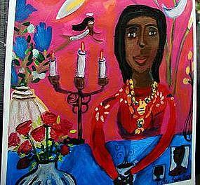 Original Outsider Folk Art Painting Coffee With the Spirit World