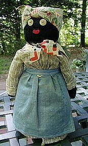 Diminutive and Sweet 1940s Black Mammy Bottle Doll