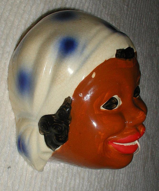 Fab RARE C1930 Japan Polka Dot Mammy Head String Holder