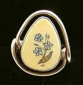 Sterling Silver Scrimshaw Ivory Ladies Ring Blue Flower